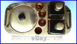 Vintage Bar Caddy Ice Bucket 2 Amber Glass Diamond Decanters & Shot Glasses Set