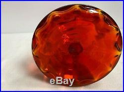 Vintage Blenko 1968 Mid Century Joel Myers Tangerine/Amberina Swirl Decanter 17