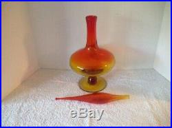 Vintage Blenko #6212 Footed Glass Decanter Tangerine 21 Stopper Wayne Husted