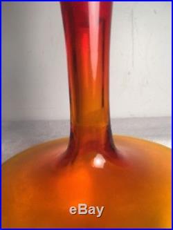 Vintage Blenko Amberina Decanter Bottle Art Glass