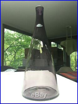 Vintage Blenko Art Glass #920L Amethyst or ROSE Decanter NO TOP