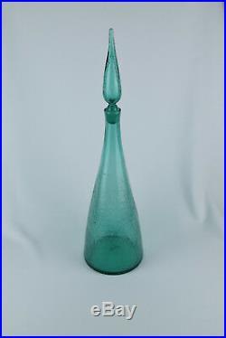 Vintage Blenko Art Glass #920L Sea Green 23.5 Crackle 1960's Husted Decanter