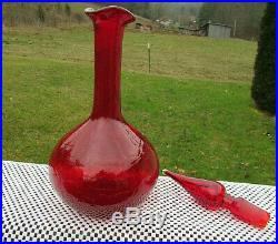 Vintage Blenko Art Glass Ruby Red Crackle Glass Decanter withFlame Stopper 13 T