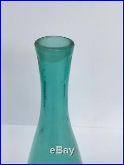 Vintage Blenko Art Glass Sea Green 22 3/4 Decanter