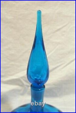 Vintage Blenko Blue Mid Century Modern Decanter Bottle Flame Stopper 13