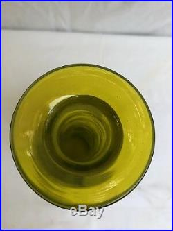 Vintage Blenko Crackle Glass Decanter Green/ground Stopper MCM