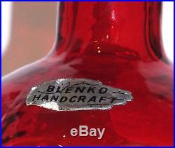Vintage Blenko Decanter Molded & Textured Tangerine Glass With Round Stopper