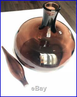 Vintage Blenko Decanter, RAREST Chestnut Color, As Is, Nice