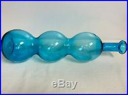 Vintage Blenko Glass Wayne Husted Blue Gurgle 3 Ball Decanter Bottle 18 1/2
