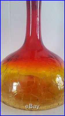 Vintage Blenko Hand Blown Art Glass Decanter in Tangerine Crackle 1966 1960s