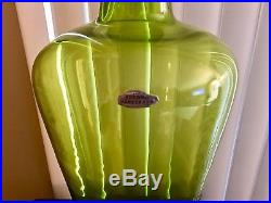 Vintage Blenko Handblown Glass Architectural Scale #6534 Decanter In Olive Green