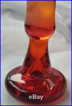 Vintage Blenko Tangerine Amberina Decanter With Flat Top Stopper