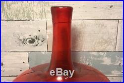 Vintage Blenko Tangerine Amberina Orange 14.5 Decanter Bottle Art Glass