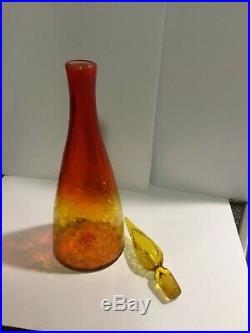 Vintage Blenko glass tangerine crackle decanter