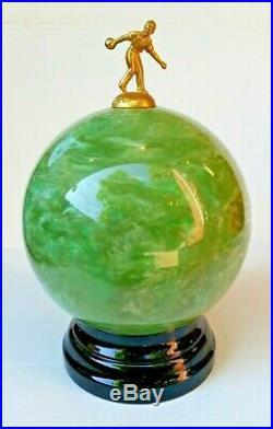 Vintage Blowing Ball Decanter Shot Glass Set With Pump Dispenser Near Mint
