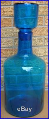Vintage Blue Blenko 6955 Large Floor Decanter With Stopper Joel Myers