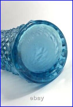 Vintage Blue Diamond Pattern MCM Empoli Genie Style Bottle Decanter 23 Aqua