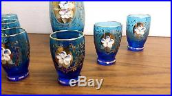 Vintage Blue Glass Bohemian Decanter Set 11 Bottle Stopper Six 2.75 Glasses