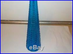 Vintage Blue Glass Bottle Made in Italy Bottle Vase Decanter Genie MCM