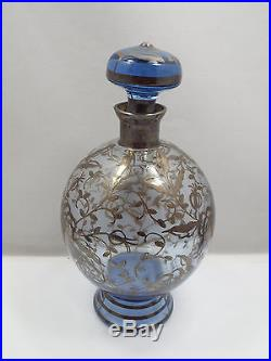 Vintage Blue Tinted Glass Hand Painted Silver Overlay Decanter & Glass Set