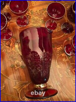 Vintage Bohemia Red Glass Set Decanter Pot With 12 Big Glasses 6 Small glasses