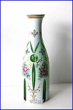 Vintage Bohemian Art Glass White Cut To Green Decanter Bottle Stopper Rare