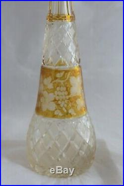 Vintage Bohemian Crystal Glass Decanter Amber Cut to Clear withGrapes & Vines