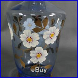 Vintage Bohemian Czech Cobalt Blue Gold Enamel Glass Liquor Wine Decanter Bottle