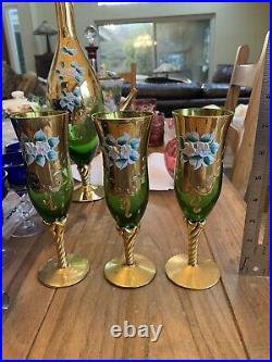 Vintage Bohemian Czech Green Glass Decanter Cordial 3 Glasses Flowers Free Ship