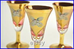 Vintage Bohemian Czech Pink Glass Decanter and 6 Glasses Enamel Gold Antique Set