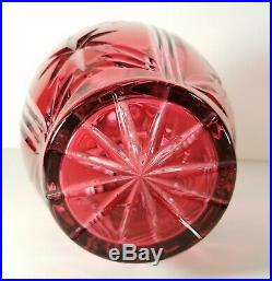 Vintage Bohemian Czech Ruby Cut To Clear Crystal Decanter W Tall Stopper 17 EXC