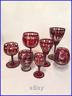 Vintage Bohemian Czech Ruby Cut to Clear Decanter Set with Five Glasses Deer