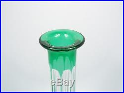 Vintage Bohemian Emerald Green Cut to Clear Crystal Tall Decanter, 16