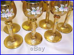 Vintage Bohemian Enameled Hand Painted Wine Set Goblets & Decanter Queen Helene