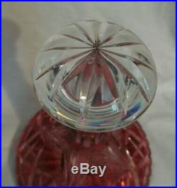 Vintage Bohemian Glass Cut-to-clear Cranberry Ships Decanter (9.75)