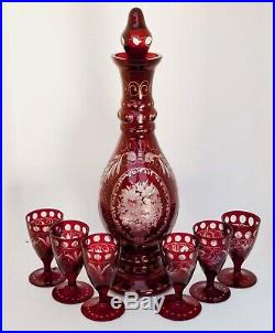 Vintage Bohemian Glass Ruby Cut To Clear 7 Piece Liquor Set Decanter And 6 Stems