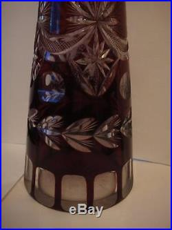 Vintage Bohemian Ruby Red Crystal Glass Decanter Cut to Clear