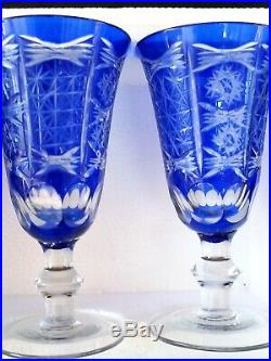 Vintage Bohemian hand cut Blue to Clear crystal decanter & 6 wine goblets