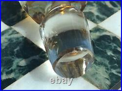 Vintage CZECH HAIDA BOHEMIAN DECANTER GOLDEN AMBER Cut CLEAR Engraved GRAPEVINE