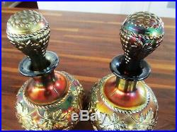 Vintage Carnival Glass Decanters Amethyst Carnival Glass Set Of Two