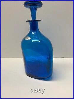 Vintage Classic Blue Blenko Decanter