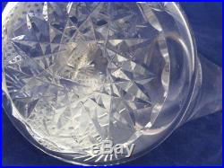 Vintage Clear Cut Crystal Porron Decanter 915 Sterling Silver Stoppers & Chain