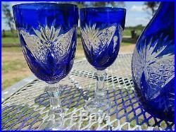 Vintage Cobalt Blue Cut to Clear Bohemian Sangria Decanter Set
