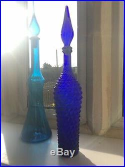 Vintage Cobalt Blue Glass Genie Bottle Italian Empoli 57cmi Diamond Cut Decanter