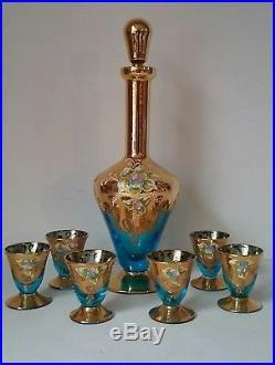Vintage Cordial Set Decanter Glasses Blue Gold Hand Painted Enameled Floral