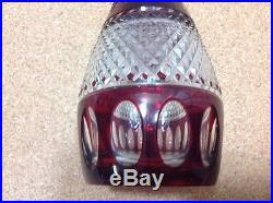 Vintage Cranberry Cut to Clear Glass Cruet Decanter Bohemian 12