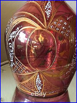 Vintage Cranberry Hand Blown Glass Decanter, Etched, Hand Painted Gold, 24H
