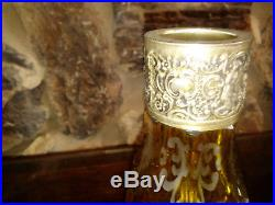 Vintage Crystal Silver Mark 800 Yellow Cut To Clear Etched Decanter