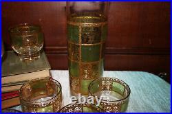 Vintage Culver 22kt Gold and Green 7 piece Martini Set Cocktail Glasses Carafe