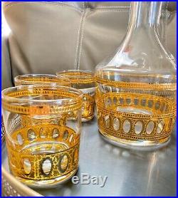 Vintage Culver Antiqua Gold Whiskey Rocks Glasses And Decanter Set Of 8